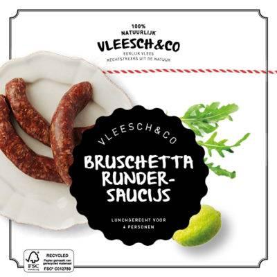 Vleesch&Co natuurvlees recept bruschetta saucijs worst
