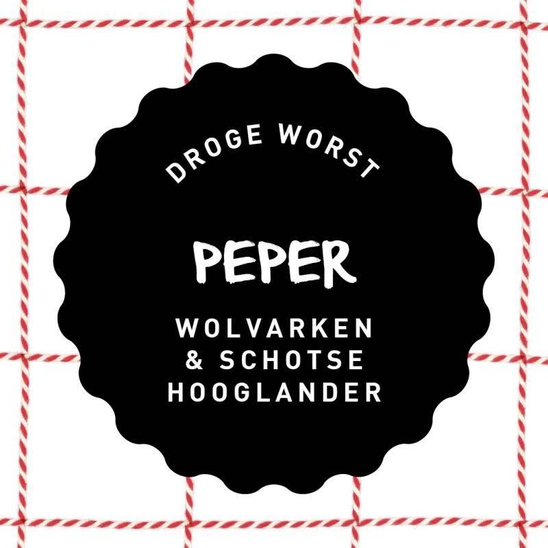 Vleesch & Co droge worst Wolvarken & Schotse Hooglander Peper